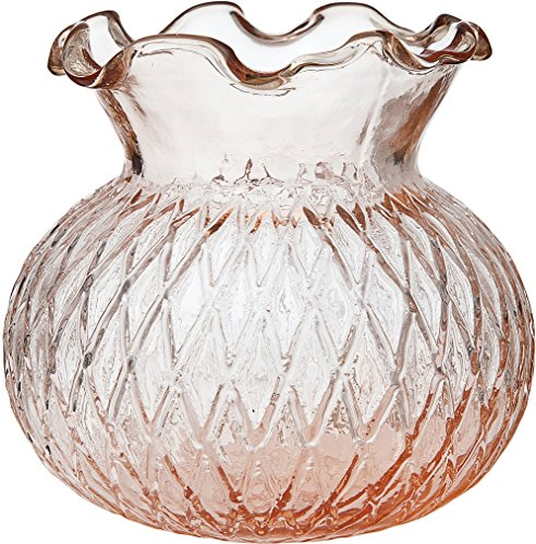 (Cultural Intrigue Luna Bazaar Vintage Glass Vase (4-Inch, Daisy Short Ruffled Design, Vintage Pink) - Decorative Flower Vase - for Home Decor and Wedding Centerpieces)
