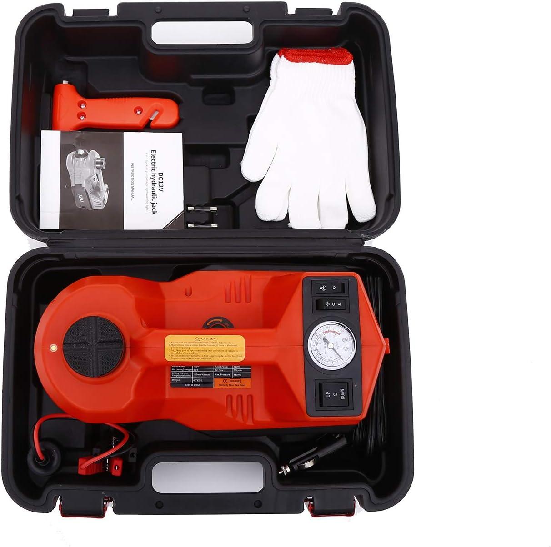 ROGTZ Electric Car Jack 5 Ton 12V Hydraulic Car Jack LED Light Portable Car Repair Tool Kit Red
