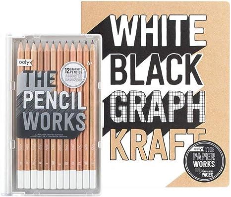 OOLY Happy Pack, lápices de grafito + libro de dibujo + sacapuntas - Work-It, Draw-It paquete de regalo: Amazon.es: Juguetes y juegos