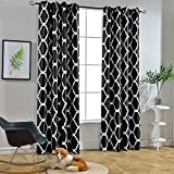 black and white bedroom Melodieux Moroccan Fashion Room Darkening Blackout Grommet Top Curtains, 52 by 84 Inch, Black (1 Panel)