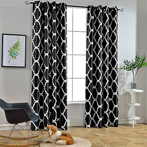 Melodieux Moroccan Print Room Darkening Blackout Grommet Top Curtains, 52 by 96 Inch, Black (1 Panel)]()