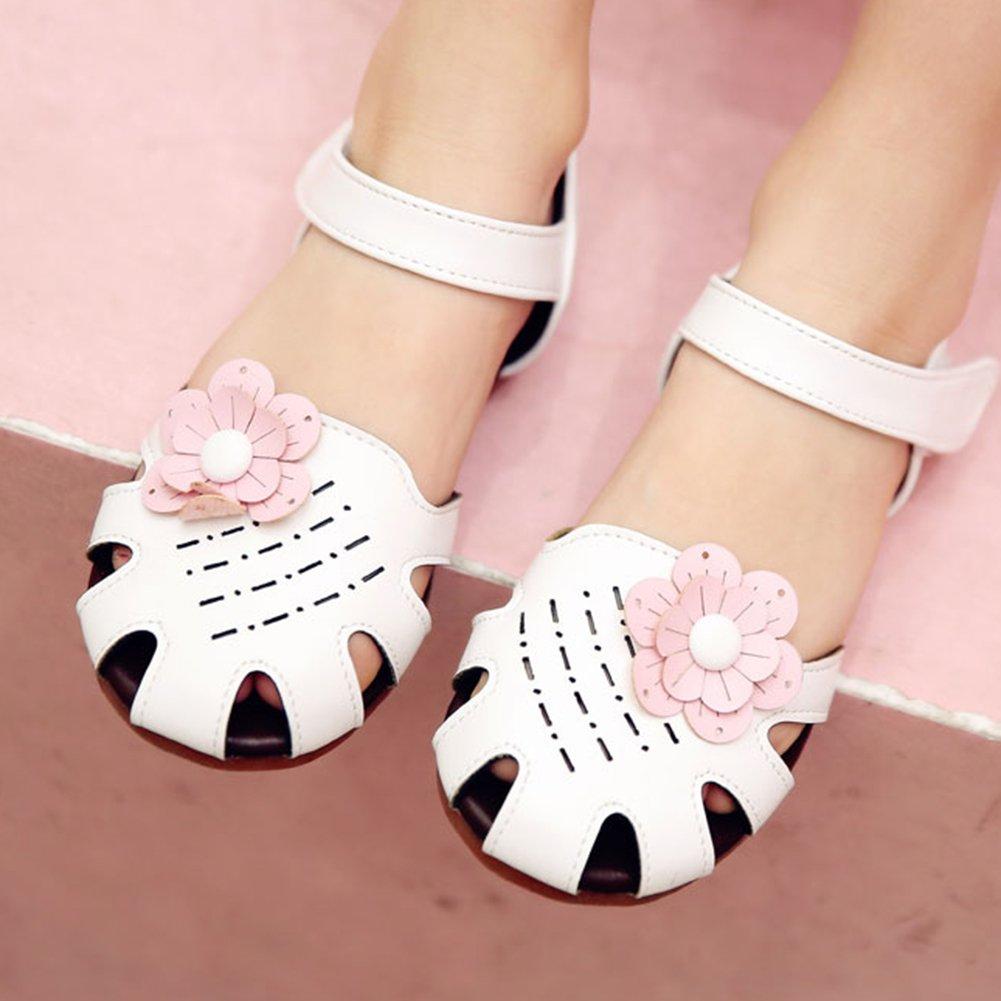 SFNLD InStar Girls Cute Floral Close Toe Low Cut Hook and Loop Antiskid Flats Sandals
