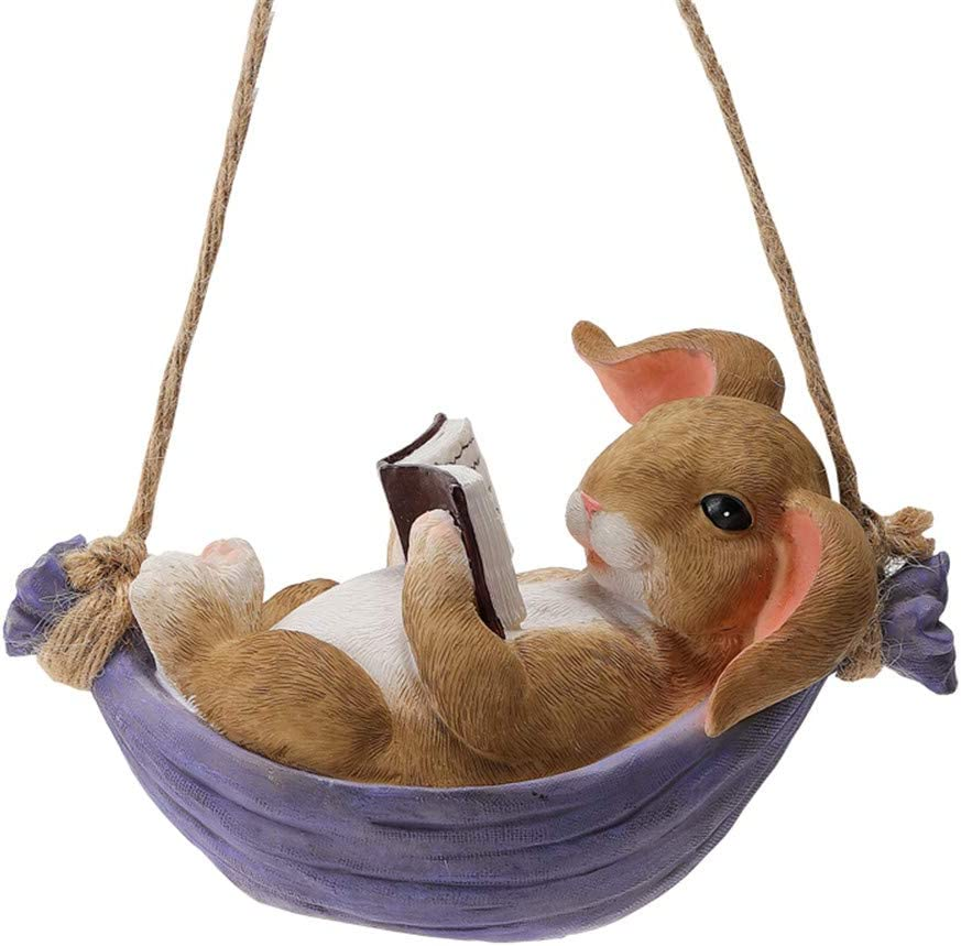 Bunny Statue Yard Garden Decorations, Cute Bunny is Reading, Animal Figurine for Outdoor