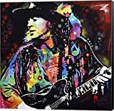 Stevie Ray Vaughan by Dean Russo Canvas Art Wall Picture, Museum Wrapped with Black Sides, 37 x 37 inches