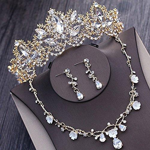 Quantity 1x bride Headdress jewelry Wedding necklace earrings set Bridal crystal pearl gold Crown Tiara Party Wedding Headband Women Bridal Princess Birthday Girl Gift _three-piece_ (Bridal Concept Jewelry)