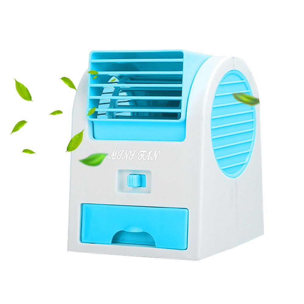 Leegoal Air Conditioner Fan, USB Mini Portable Desktop Fan with Humidifier and Air Purifier, Cooling Fan for Car, Home, Office, Garden (Blue)