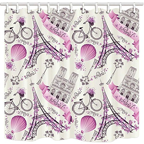 CdHBH Paris Decor Shower Curtain By Eiffel Tower Hot Air Balloon Bicycle Pattern Farmhouse Bathroom Mildew Resistant Polyester Fabric Waterproof Shower Curtain Set With Hooks 71X71in
