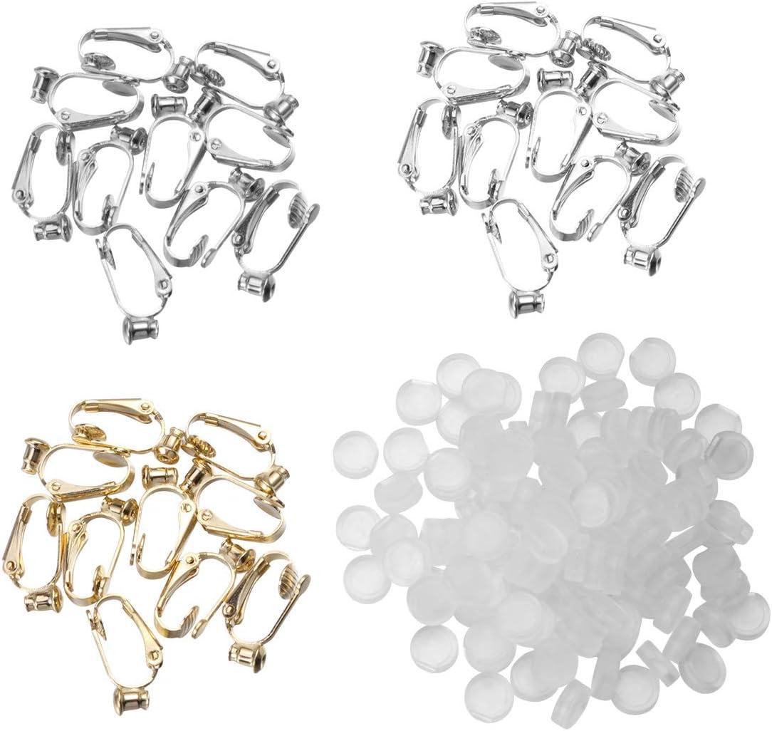 SUPVOX 60 piezas BronaGrand 24 Piezas Clip-on Hallazgos Pendientes Componentes Tornillo Trasero Oreja No Perforado Convertidor de Pendientes con Lazo (Dorado, Plata y Cobre)