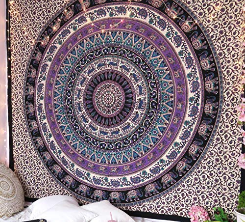 RSG Venture Elephant Tapestry Wall Hanging Mandala Tapestry Bohemian Tapestry Psychedelic Wall Tapestry Flower Psychedelic Tapestry for Indian Dorm Decor
