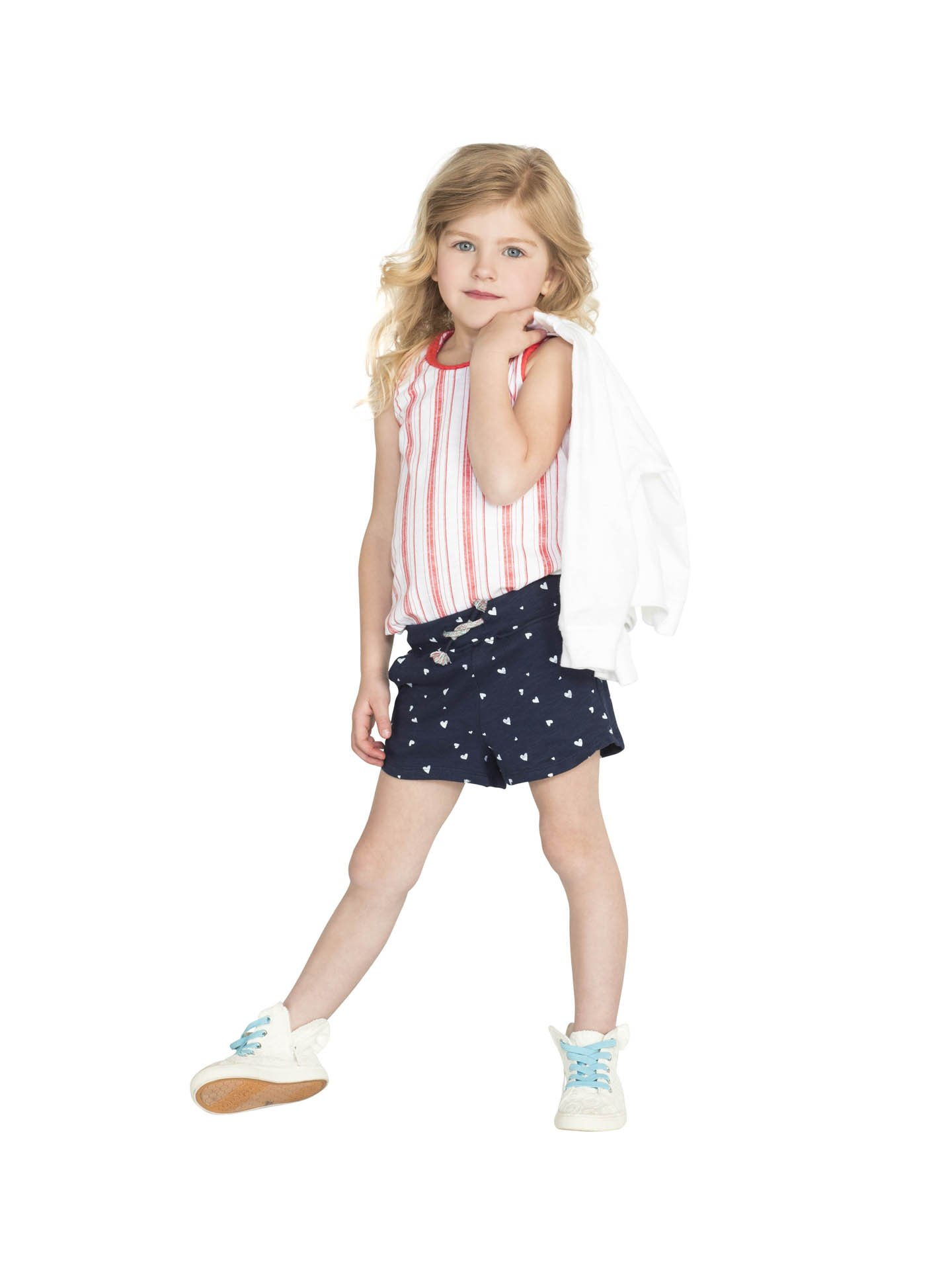 Colored Organics Girls Organic Nika Sport Shorts - Navy/White Heart Print - 2T by Colored Organics (Image #2)