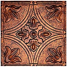 """Fasade - 2ft x 4ft Traditional 2 Moonstone Copper Glue Up Ceiling Tile/Ceiling Panel - Fast and Easy Installation (12"""" x 12"""" Sample)"""
