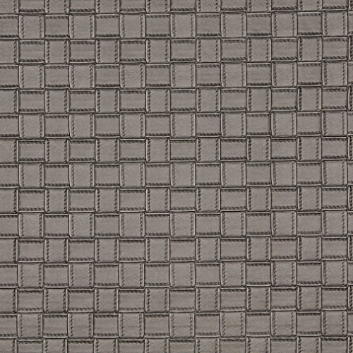 - G660 Silver Metallic Basket Woven Look Upholstery Faux Leather By The Yard