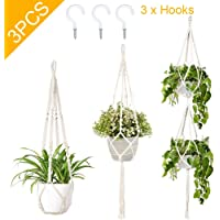 AerWo 3 Pack Macrame Plant Hangers Indoor Wall Hanging Planters+ 3 PCS Hooks, Handmade Hanging Plant Holder Basket Stand Flower Pot Holder for Indoor Outdoor Boho Home Decor(4 Legs, 3 Sizes)