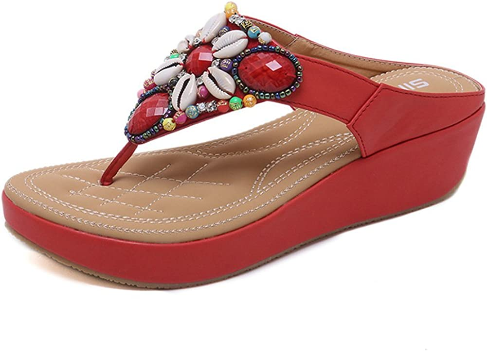 Mobnau Womens Leather Bling Beaded Casual Thong Sandals Flip Flops