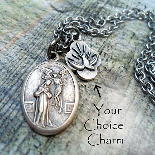 St. Gabriel Archangel Annunciation Charm Necklace, Patron Saint, Keychain or Purse-Backpack Clip ()