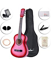 ADM Beginner Classical Guitar 30 Inch Steel Strings Pink Bundle Kit with Gig Bag, Tuner, Strings, Strap, and Picks