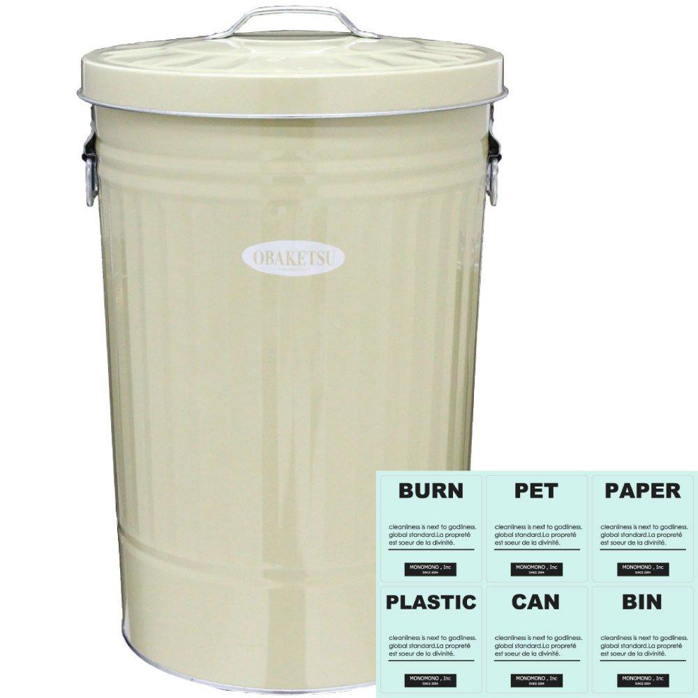 【暮らしの工夫】 ゴミ箱 + 分別シール(透明) OBAKETSU 42L カラー ごみ箱 ダストボックス ふた付き おしゃれ オバケツ (アイボリー) B078XC17WY アイボリー アイボリー