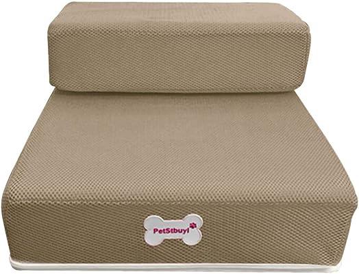 Clearance Sale Pet Stairs,Vanvler Breathable Mesh Foldable Pet Stairs Detachable Pet Bed Stairs Dog Ramp 2 Steps Ladder Larger Coffee