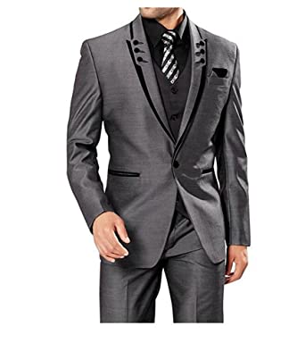 2acc168d24f Fashion Grey 3 Pieces Men Suits Wedding Suits One Button Groom Tuxedos at  Amazon Men s Clothing store