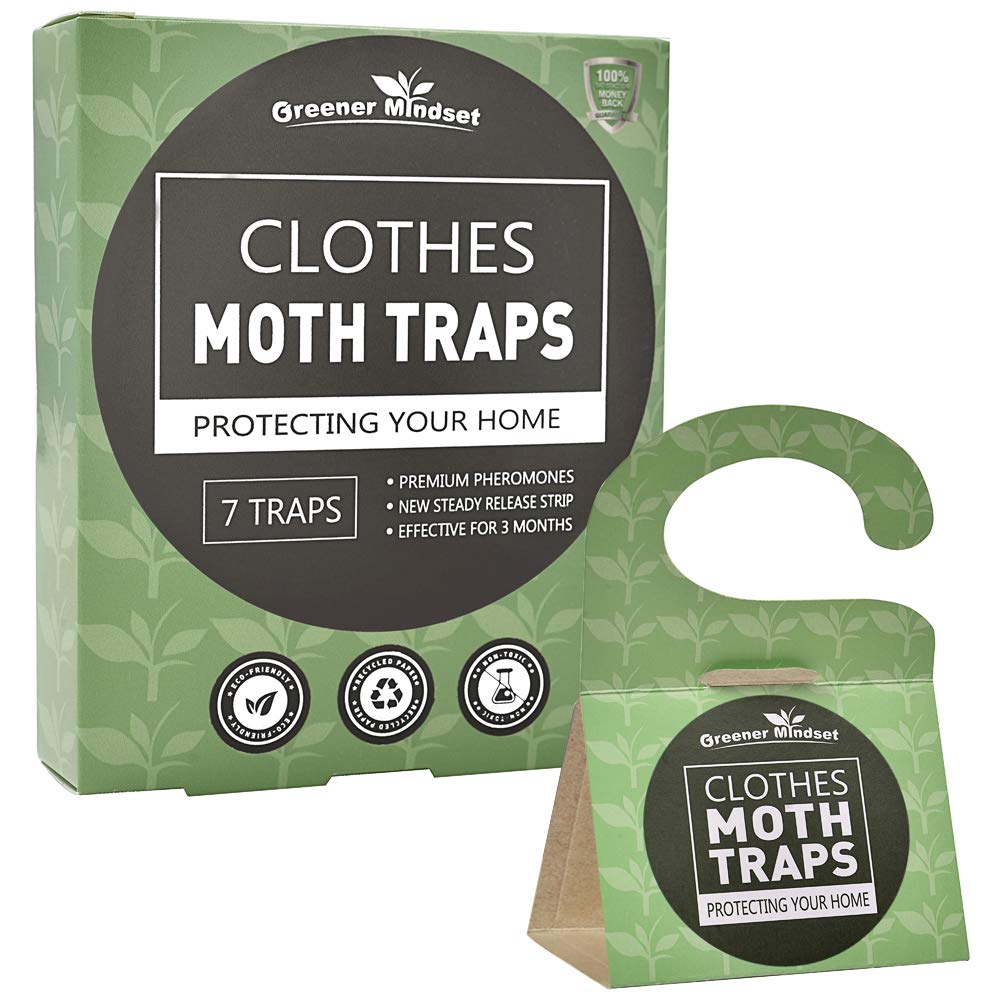 Greener Mindset Clothes Moth Traps 7-Pack with Premium Pheromone Attractant - Capture & Prevent Clothing Moths - Closets, Wool & Carpets - Webbing & Case-bearing