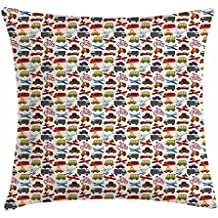 Boy's Room Throw Pillow Cushion Cover by Lunarable, Planes Bikes Cars Trucks Train Taxi Motorcycle Bus Crane Engine Cartoon Art, Decorative Square Accent Pillow Case, 26 X 26 Inches, Multicolor