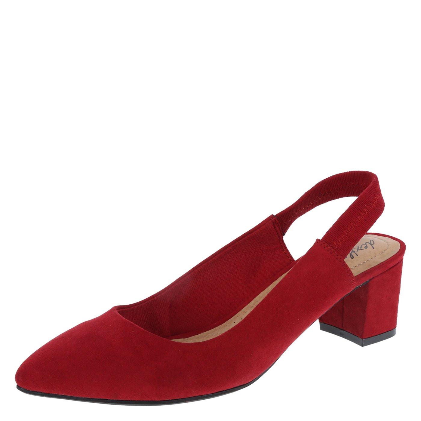 dexflex Comfort Red Suede Women's Stevie Sling 9.5 Wide