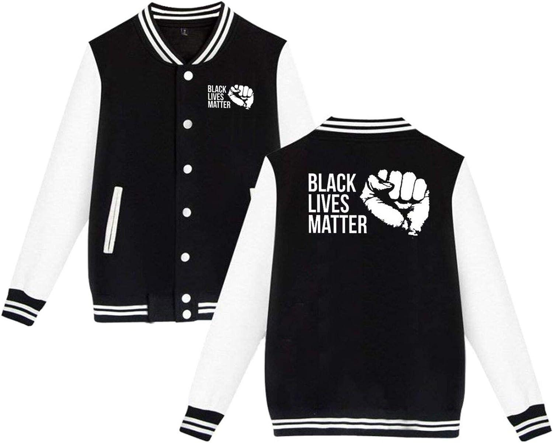 Wanjirong Men Women Baseball Jacket Sportwear Black Lives Matter Long Sleeve Varsity Jackets