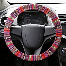 A-lighting Multi-Color Flax Cloth Car Steering Wheel Cover - HANDMADE