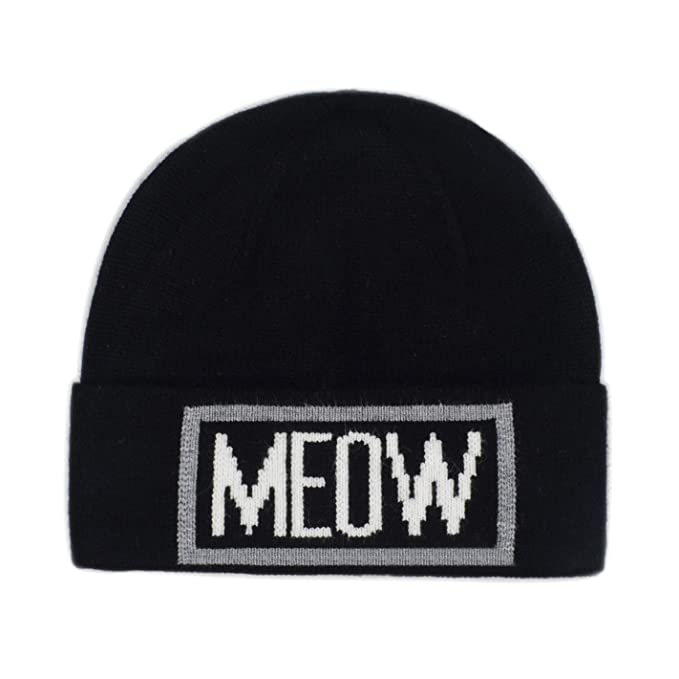 Amazon.com  Hatphile Meow Cat Knit Hat Beanie (Black)  Clothing ec9b5caeec5