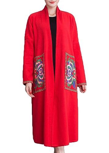 La Primavera Y El Otoño De La Capa De Lana Chaqueta De Viento Nacional Retro De Las Mujeres,Red-L