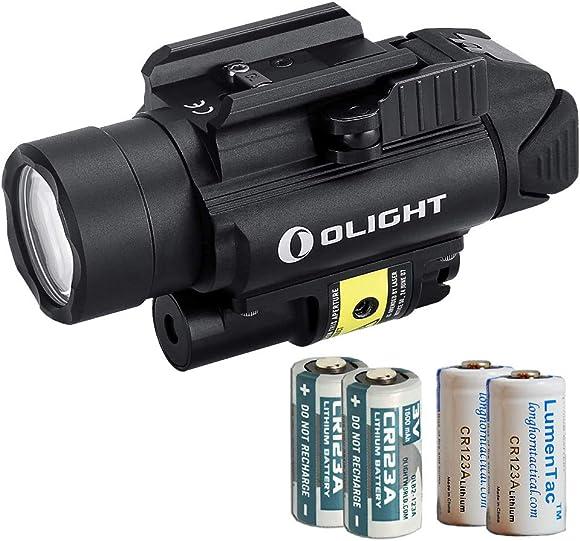 OLIGHT Baldr Pistol Flashlight Weaponlight Laser Sight Combo with 2X CR123 Batteries 2X LumenTac CR123 Batteries