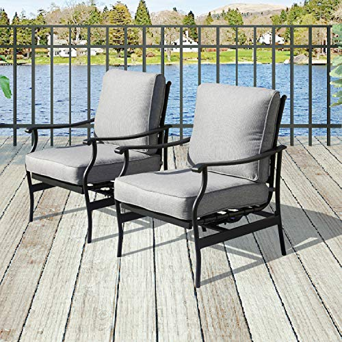 Patio Festival 2 PC Outdoor Padded Conversation Set,Patio Furniture Sets Modern Bistro Cushioned Rocking Sofa Chairs with 5.1 Inch Thick Seat Cushions (2PCS-2, Grey)