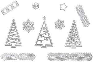 Christmas Tree Wreath Metal Cutting Dies Stencil Template Molds, Embossing Tool Die Cuts for Card Making Album Paper Scrapbooking DIY Décor Dies Craft (Tree&Pine Branches)