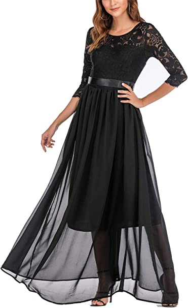 Women's Chiffon Black Evening Gowns with Sleeves