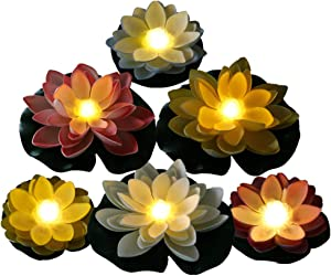 Battery Operated Mixed Color Lotus-Warm White LED, Water Floating Lily Flower, Flower Night Lamp for Pool Garden Fish Tank Wedding Or Party Decoration (6 Flowers and 2 Big Size Leaves 11'')