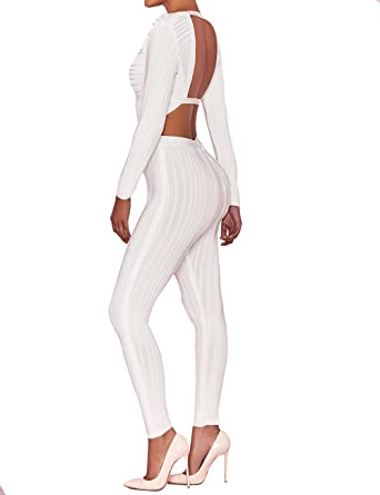 d5322bdcc2ae UONBOX Women s Sexy Rayon Plunge V Neck Long Sleeves Club Party Bandage  Trousers Jumpsuit Rompers White