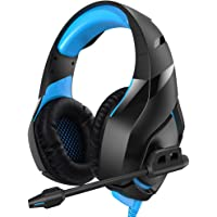 RUNMUS PS4 Gaming Headphones with Noise Canceling Mic (Blue)