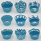 Sophiebella 60-count (5 Packs, Random 5 Styles) Blue-Cupcake-Wrappers Decorative Cupcake-Liners Baking-Cups for Wedding Holiday Party by SophieBella