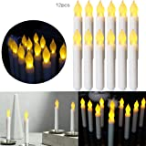 Set of 12 Flameless Candle Amber Yellow Ivory Mini Wax Dipped White Body Flickering LED Taper Candles Decorate for Indoor Party Wedding/Thanksgiving Christmas led candles battery operated candle