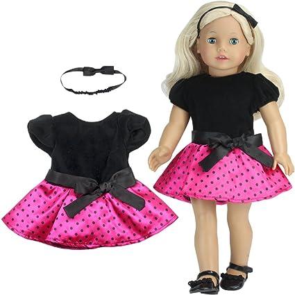 e976ca46bd Amazon.com  2 Pc. Polka Dot Doll Dress Set of Dress   Headband for ...