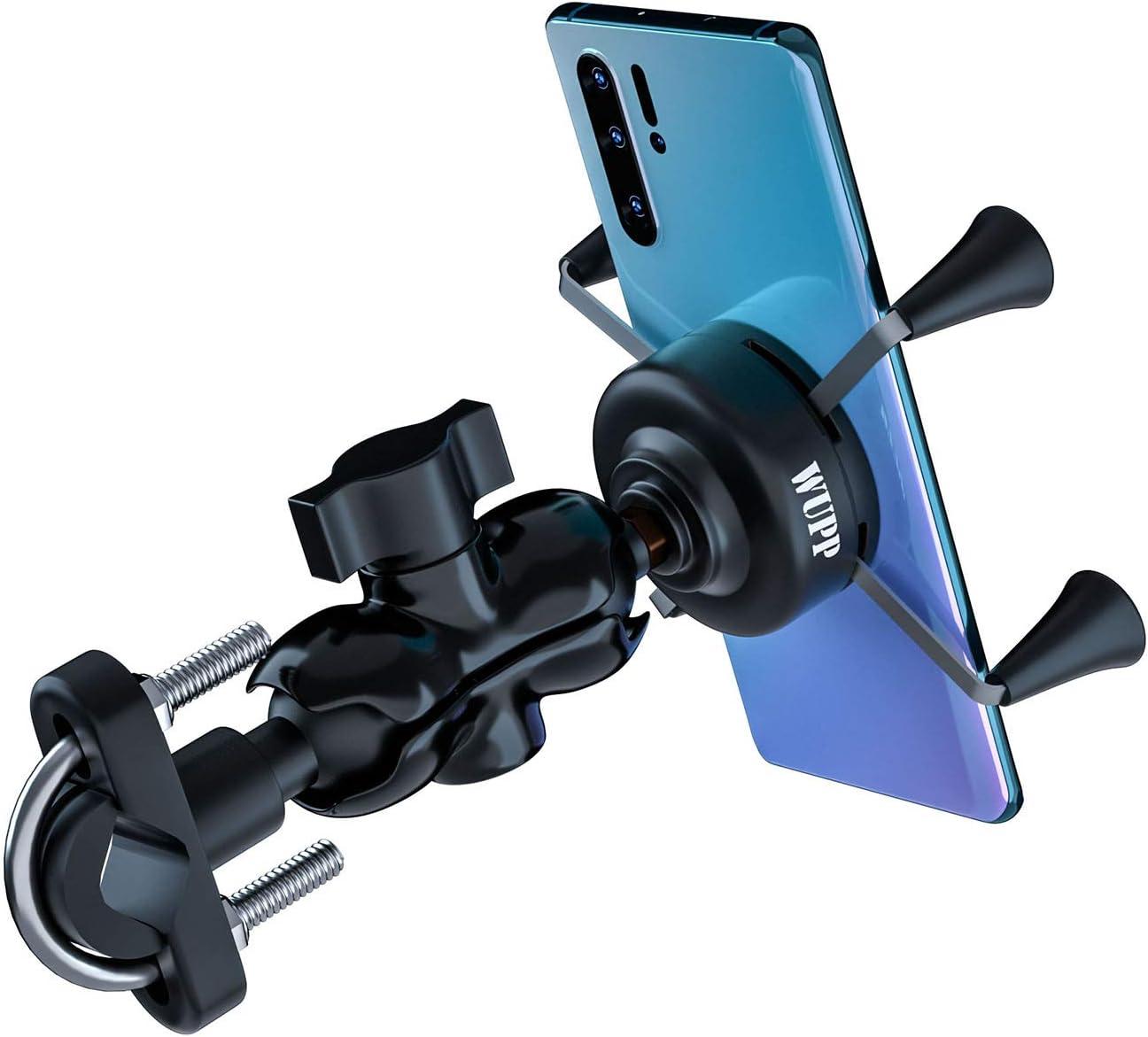 Kriogor Aluminio Moto Soporte de Montaje con 2.1A Cargador USB Toma para Teléfono Móvil DE 3.5 a 6 Pulgadas, GPS