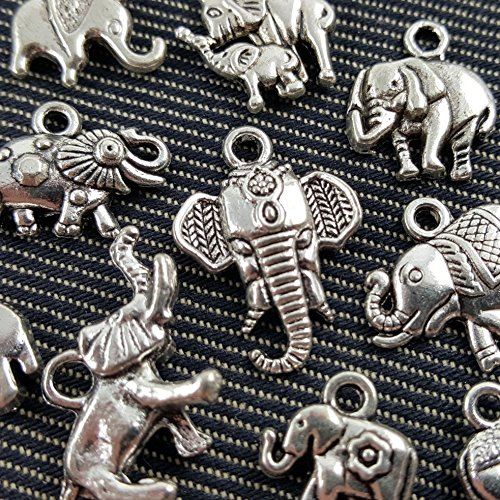 10 Mixed Tibetan Silver Plated Animals Elephant Charms Pendants Jewelry Making DIY Accessories Charm Handmade Crafts (NS544)