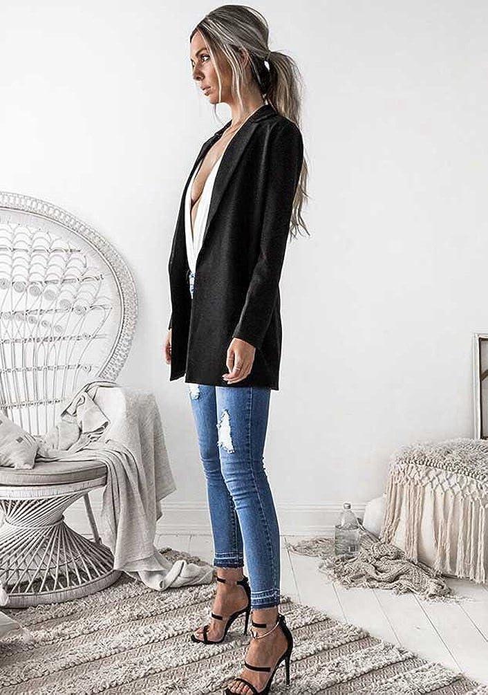 NiSeng Damen Longblazer Elegant Slim Fit Langarm Revers Blazer B/üro Jacke Suit Cardigan Jacke