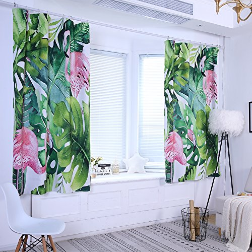 CHoppyWAVE Tropical Leaves Flamingo High Shading Curtain Window Drape Valance Home Decor - 100cm x 130cm
