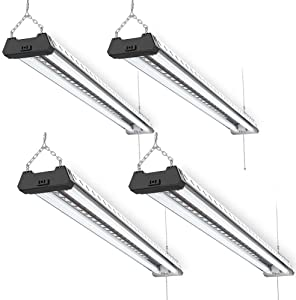 Sunco Lighting 4 Pack Industrial LED Shop Light, 4 FT, Linkable Integrated Fixture, 40W=260W, 5000K Daylight, 4000 LM, Surface + Suspension Mount, Pull Chain, Utility Light, Garage- Energy Star
