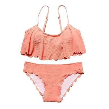 abcefe36b0fc7 Women Swimwear Two Piece Off Shoulder Ruffled Flounce Crop Beachwear  Swimsuit Bikini Set (S