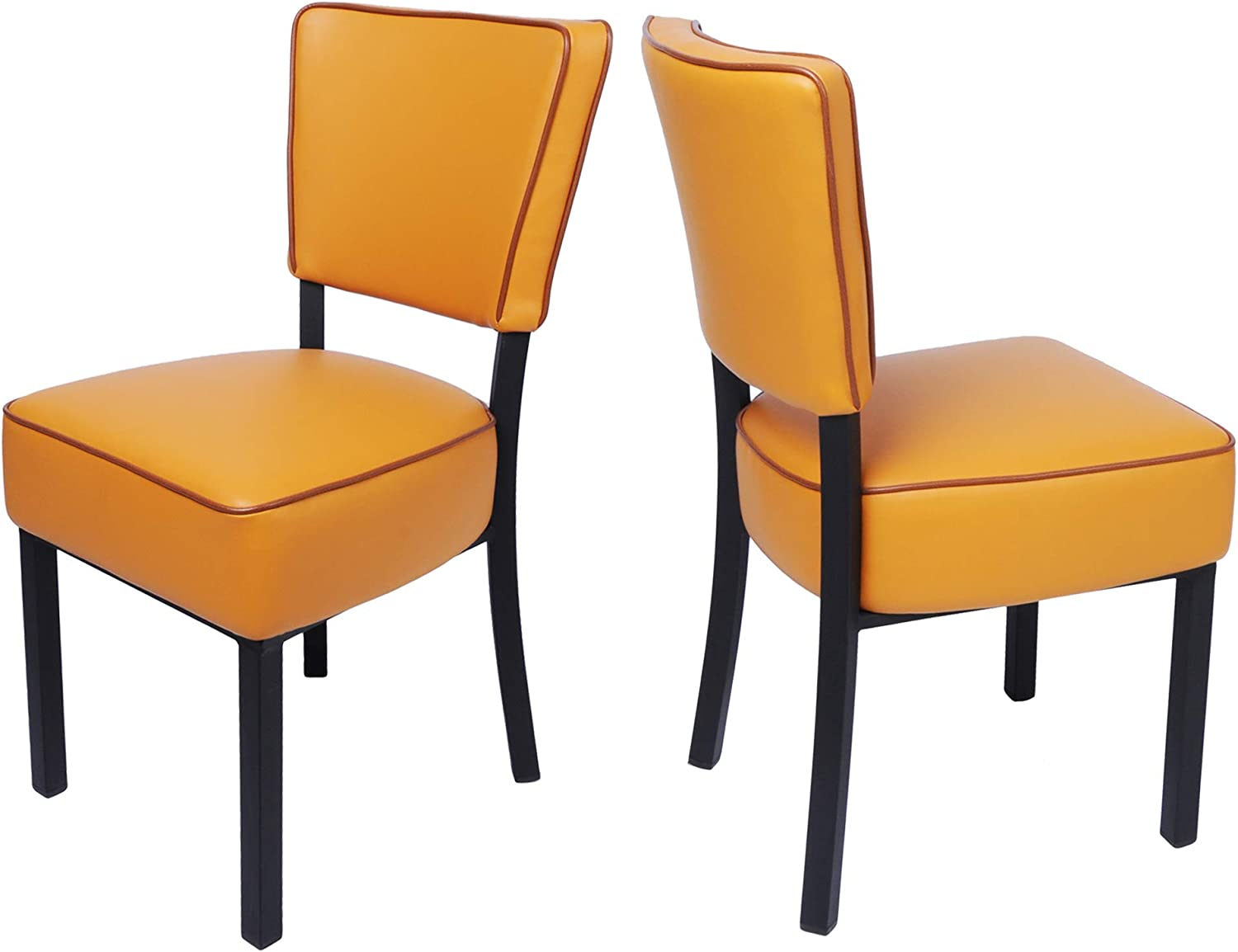 LUCKYERMORE Kitchen Dining Chairs Set of 2 Modern Classic Leather Side Chair for Dining Room Cafe Bedroom, Orange