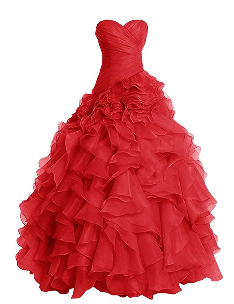 19c311d43219 Red APXPF Women's Long Ruffly Organza Formal Prom Dress Wedding Party Ball  Gown
