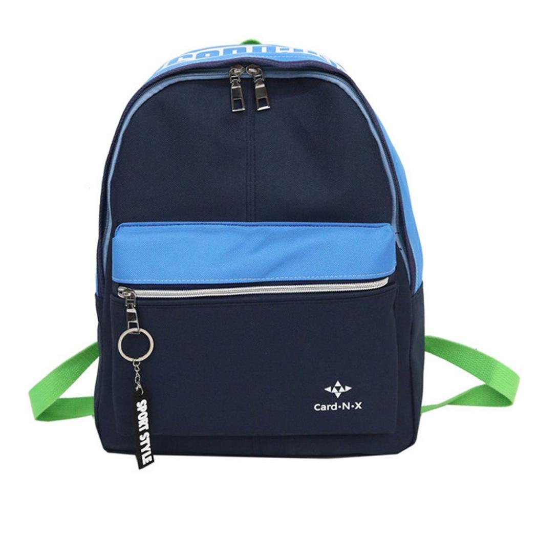 Aobiny Backpack Male and Female Wniversal Color Mosaics Backpack Lovers Backpack (Blue)