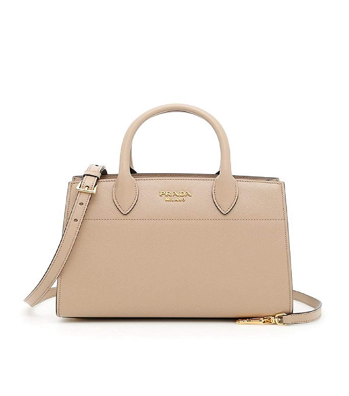 Prada Bibliothèque Tote Saffiano City Leather Beige and Maroon Handbag  1BA049  Handbags  Amazon.com